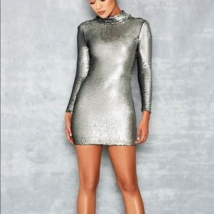 House of CB Mistress Rocks Silver Sequin Dress